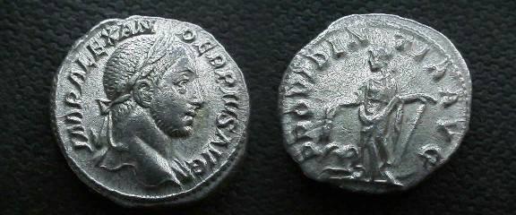 Ancient Coins - Severus Alexander Denarius.  PROVIDENTIA AVG, Providence standing left holding corn ears of an altar at feet left & cornucopiae.
