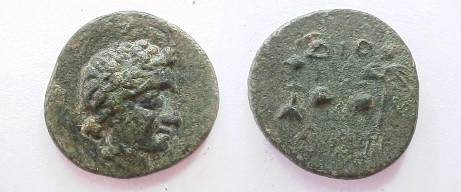 Ancient Coins - THRACE, Dionysopolis. After 3rd century BC. AE  20mm.Dionysos right / DION, EF and RRR