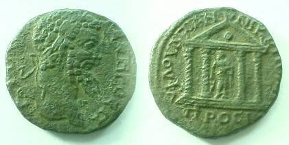 Ancient Coins - Septimius Severus AE28 of Nikopolis ad Istrum.  Tetrastyle temple with Asklepios within, standing left, leaning on serpent entwined staff.