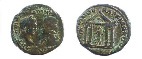 Ancient Coins - Caracalla & Julia Domna AE28 Pentassarion of Markianopolis.  Tetrastyle temple with peaked roof, dot in entablature, Fortuna within with rudder & cornucopiae.