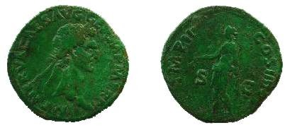 Ancient Coins - Nerva AE Sestertius,  98 AD.  IMP II COS III P P S-C, Libertas standing left holding pileus and scepter.