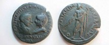Ancient Coins - Gordian III & Tranquillina AE27 of Anchialus, Thrace.  Zeus standing left, bare to waist, holding thunderbolt & scepter.