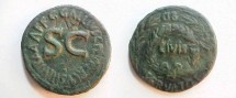 Ancient Coins - Augustus AE Sestertius coined by C Gallius Lupercus.  OB CIVIS SERVATOS, above, in and below wreath.