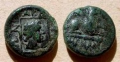 Ancient Coins - Thrace, Abdera AE14.  QEUDE below Griffin seated right.