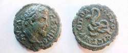 Ancient Coins - Septimius Severus AE17 of Nicopolis ad Istrum.  Coiled serpent.