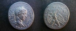 Ancient Coins - Elagabalus Silver tetradrachm of Antioch, Syria.  eagle standing facing, head left, with wreath in its beak.