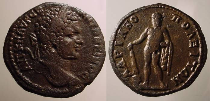 Ancient Coins - Caracalla AE26 of Hadrianopolis, Thrace. Hercules standing left  resting on club set on The Cretan Bull head.