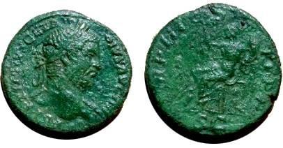Ancient Coins - Geta AE Sestertius,  211 AD.  TR P III COS II P P, Italia seated left holding scepter & cornucopiae, figure on ground left, river god reclining right below seat, SC in ex.