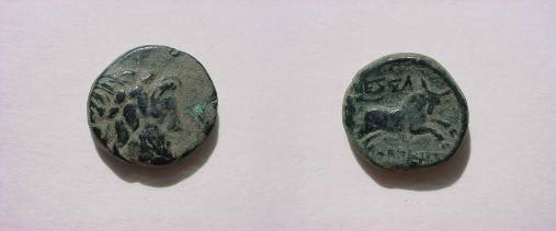 Ancient Coins - Macedon, Thessalonica AE19. Diademed head of Zeus right / QESSA-LONIKEWN, bull leaping right.
