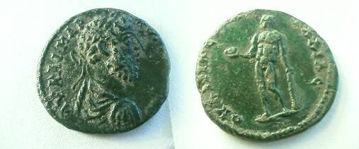 Ancient Coins - Commodus AE22 of Pautalia.  Hercules standing left holding Apples of the Hesperides and club.