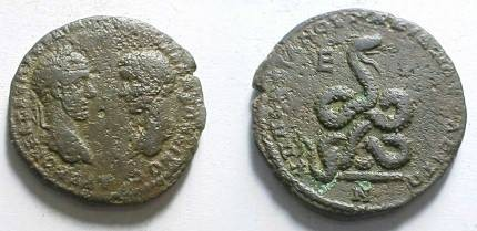 Ancient Coins - Macrinus and Diadumenian AE28 Pentassarion of Markianopolis. Coiled serpent facing right with protruding tongue.