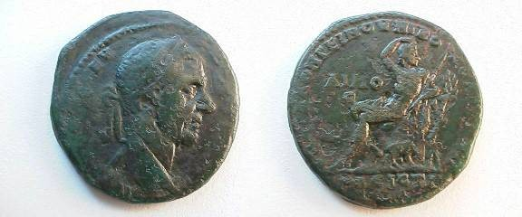 Ancient Coins - Macrinus AE28 of Nikopolis ad Istrum.Young man (Hemus,  the Old Mountain),  seated on a cliff,bear below.