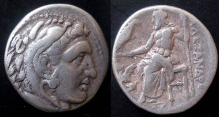 Ancient Coins - Alexander The Great AR Drachm. Head of Herakles right in lionskin / Zeus seated left