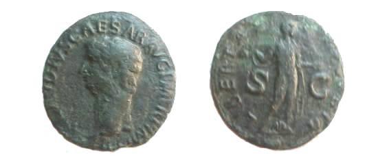 Ancient Coins - Claudius Æ As.  LIBERTAS AVGVSTA S-C, Libertas standing facing, with pileus and extending left hand.