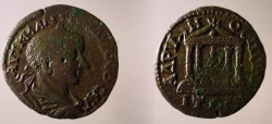 Ancient Coins - Gordian III Æ 27mm of Hadrianopolis, Thrace. Tetrastyle temple containing standing figure of Tyche.