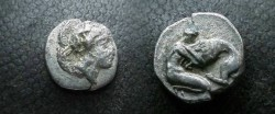 Ancient Coins - Tarentum.  Herakles wrestling Nemean lion; bow and quiver behind.