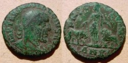 Ancient Coins - Trajan Decius AE29 of Viminacium.  PMS COL VIM, Moesia standing between bull & lion, AN XI in ex.