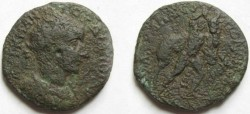 Ancient Coins - Gordian III AE30 of Hadrianopolis,Thrace. Hercules seizing the Cretan bull to bring it to Mycanae.