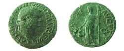 Ancient Coins - Domitian as Caesar Æ As. 76 AD. Aequitas standing half-left, holding scales & staff. Cohen 3.