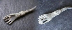 Ancient Coins - Roman bronze arm and hand holding a pearl.  49mm.
