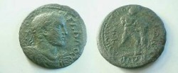 Ancient Coins -  Trebonianus Gallus AE36 of Tarsos(?) / Hercules and Namean lion.