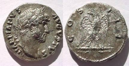 Ancient Coins - Hadrian Denarius. IMP CAESAR TRAIAN HARDRIANVS AVG. Eagle clasping thunderbolt, head left.