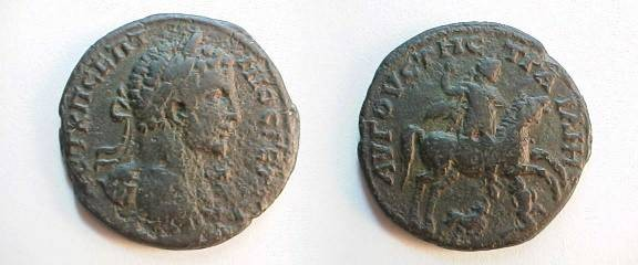 Ancient Coins - Geta AE29 of Augusta Traiana, Thrace.  Geta on horseback right, riding down two enemies.