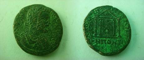 Ancient Coins - Septimius Severus AE26 of Apollonia Pontika, Thrace.  Tetrastyle temple with statue within.