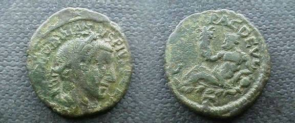 Ancient Coins - Gordian III AE23 of Deultum, Thrace.  COL FL PAC DEVLT, river god reclining left holding plant & resting on jug from which waters flow.