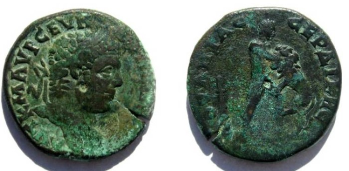 Ancient Coins - Caracalla AE31 of Serdica, Thrace.Hercules wresting Namean lion right, club standing to left