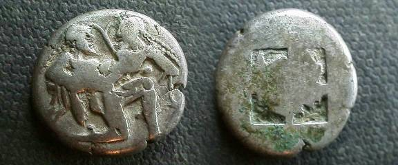 Ancient Coins - Thasos AR Stater.  Ithyphallic satyr carrying off protesting nymph / quadripartite incuse.