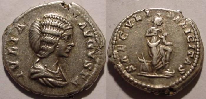 Ancient Coins - JULIA DOMNA,AR Denarius Isis standing right, left foot on prow, holding HORUS;