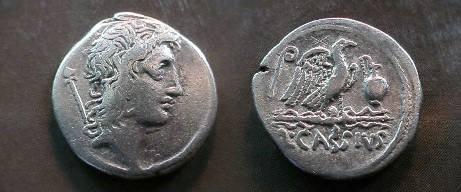 Ancient Coins - Q Cassius AR Denarius.  Eagle on thunderbolt right between lituus & jug, Q CASSIVS below.