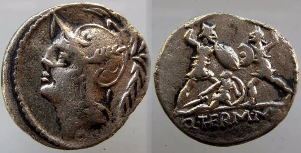 Ancient Coins - Minucius Thermus Mf Denarius. 103 BC. Helmeted head of Mars left / Q*TERM*MF below two warriors in combat, one on left protecting a fallen man.