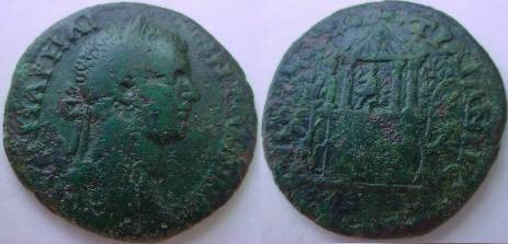 Ancient Coins - Elagabalus AE29 of Augusta Traiana. Two story shrine, Diana right with bow within tetrastyle on top, laurel trees to either side.