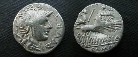 Ancient Coins - Q Curtius  & M Junius Silanus Denarius.  Jupiter in galloping quadriga right; lituus above, M SIA below, ROMA in ex.