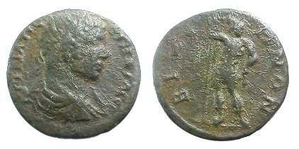 Ancient Coins - Geta AE26 of Bizya, Thrace.  Geta standing facing, head right, holding spear & parazonium.