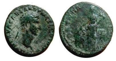Ancient Coins - Nerva Æ As.  FORTVNA AVGVST, S C across field, Fortuna standing facing,  head left, holding rudder and cornucopiae.