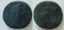 Ancient Coins - Sabina, AE-Sestertius. AD 133. Vesta. Nice Portrait VF