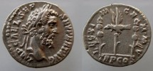 Ancient Coins - SEPTIMIUS SEVERUS. 193-211 AD. AR Denarius . LEG XIIII , legionary   eagle between two standards