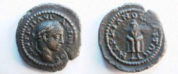 Ancient Coins - Elagabalus AE18 of Markianopolis, Moesia Inferior.  Telesporos standing facing, covered in hooded cloak.