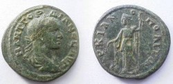Ancient Coins - Gordian III Æ28mm of Markianopolis.  Demeter standing left with grain ears and long torch.