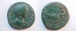 Ancient Coins - Commodus AE23 of Hadrianopolis. Galley traveling left over waves.