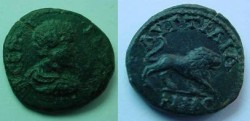 Ancient Coins - Geta AE18 of Augusta Traiana, Thrace.  Lion advancing right.