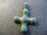 Ancient Coins -  Byzantine bronze cross with blunted terminations.  33mm.