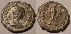 Ancient Coins -  Plautilla, AE denarius, (2.33g).Pietas standing, head right, holding scepter