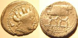Ancient Coins -  M. Plaetorius M.f. Cestianus. 57 BC. AR Denarius. Curule chair