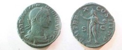 Ancient Coins - Severus Alexander Æ As.  P M TR P X COS III P P S-C, Sol, radiate, standing left with raised hand & globe.