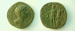 Ancient Coins - Marcus Aurelius as Caesar AE Dupondius,  144-5 AD.  IVVENTAS S-C, Juvetas standing left with branch, trophy to right.