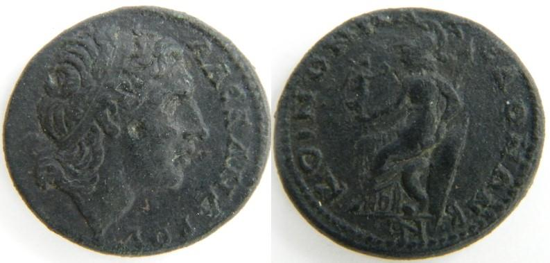 Ancient Coins - Koinon of Macedonia, time of Gordian III,Head of Alexander III/Athena seated left, holding Nike,GVF